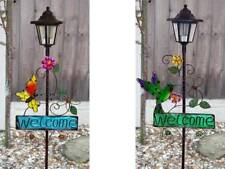SOLAR WELCOME SIGN LED LAMP LANTERN LIGHT OUTSIDE GARDEN PATHWAY PATH OUTDOOR
