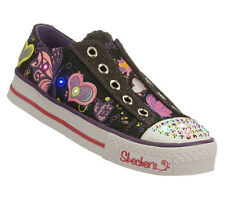 NEW SKECHERS Girls Sneakers Sport Shoes SHUFFLES - FLIRTY FLUTTERS Black