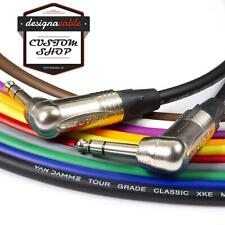 "¼"" Jack to Jack Lead. Angled NEUTRIK 6.35mm, TRS, Stereo, Balanced Cable. 3m 20m"