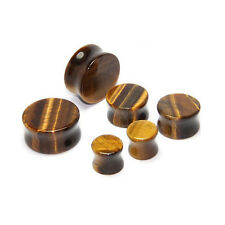 Organic Natural Stone Plug Tigers Eye Double Flare Ear Stretcher Expander 5-10mm