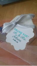 20 Personalized Wedding Favor Foil Thank You Tags Gold Silver White Navy Teal