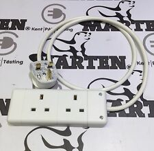 Custom Made 13a Plug to 2 Gang/Way UK Socket 0.5m to 10m White Extension Lead