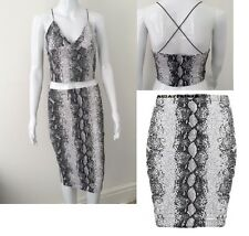WOMEN LADIES SNAKE PRINT TEXTURED PENCIL MIDI SKIRT & CROSS BACK BRALET TOP SET