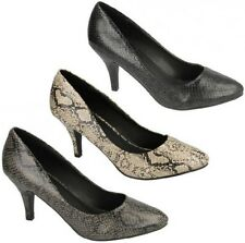 F9731 LADIES SPOT ON SNAKE PRINT POINTED TOE SLIP ON LOW HEEL COURT SHOES £9.99