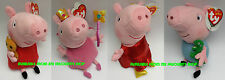 "PEPPA PIG AND GEORGE TY BEANIE Twin Packs (1 Peppa and 1 George) or 12"" Singles"