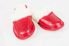 Ladies/Women`s 100% Natural leather warmed slippers with sheepskin wool All size