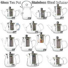 Kinds of Heat Resistant Glass Handmade Teapots w/ Stainless Steel Infuser & Lid