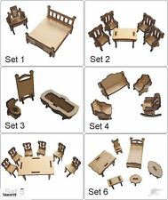 MDF DOLLS HOUSE FURNITURE BEDROOM BATHROOM LIVING DINING ROOM LOUNGE KIT 1/24TH