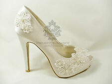 Womens New Ivory Floral Lace Pearl Peep Toe High Heel Shoes Bridal Wedding