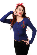 Banned 50s Rockabilly Anchor Rose Sailor Nautical Cardigan Thin Knit NAVY BLUE