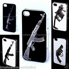 SEMI HARD DESIGNER EMBOSS METAL 3D GUN BACK COVER CASE FOR APPLE IPHONE4  4s