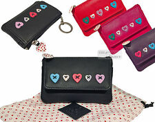 Mala Leather Lucy Small Coin Purse Key Chain Wallet Heart Case Bag Zip Flap Gift