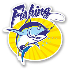 2 x Fishing Vinyl Sticker iPad Laptop Car Tool Box Fish Decal Dad Gift Fun #4709