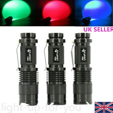 UltraFire Mini CREE LED Focus Zoom Flashlight Torch Red Blue Green Light Lamp UK