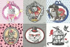 5 Serviettes en papier Chat Design Paper Napkins Cat Vintage Orval Création
