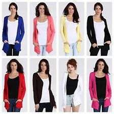 NEW WOMENS LADIES PLAIN LONG SLEEVE OPEN DROP POCKET CARDIGAN TOP PLUS SIZE 8-22