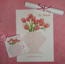 Personalised Mothers Day Gift Set Vase Flowers Word Art Poem A4 Print & Card