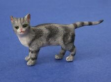 Miniature Dollhouse Gray Cat With Pointed Tail 1:12 Scale New