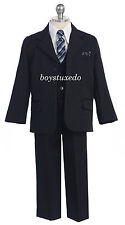 Boy's 5 Pc Navy Blue Pinstripe Suit Tuxedo Formal w/Vest Toddler Teen All Sizes
