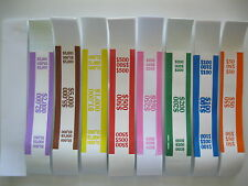 25 OR 50 MIXED LOT OR SELECT YOUR OWN COMBO SELF-SEALING CURRENCY STRAPS/BANDS