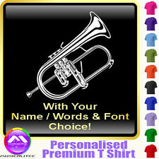 Flugel Horn Picture With Your Words - Music T Shirt 5yrs - 6XL by MusicaliTee