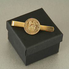 24ct Gold Plated Lucky Sixpence Tie Slide 1921 - 1946 in gift box