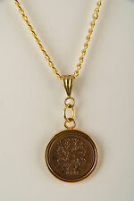 24ct Gold Plated Lucky Sixpence Pendant 1921 - 1946 in gift box