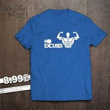NO EXCUSES T-SHIRT TRAINING HARD GYM MOTIVATION MMA BODYBUILDING MUSCLE WEAR