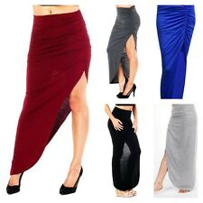 NEW WOMENS LADIES RUCHED SIDE SLIT HIGH WAISTED STRETCH SEXY BODYCON MAXI SKIRT
