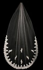 French Lace, Sequin & Pearl Trim, Cathedral Wedding Bridal Veil White or Ivory