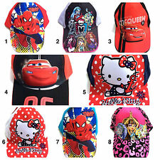 NEW BOYS and GIRLS BASEBALL CAP – SPIDERMAN, CARS, HELLO KITTY, MONSTER HIGH