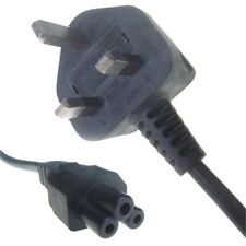 Black 5A UK Mains Plug to IEC C5 Cloverleaf Power Cable Laptop Adapters Chargers