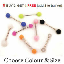 Tongue Bar Piercing Straight Barbell Ring Surgical Steel Acrylic Colour Ball 14G