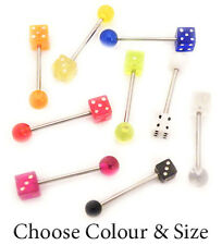 Tongue Bar Piercing Dice & Ball Straight Barbell Surgical Steel Colour 14G Sizes