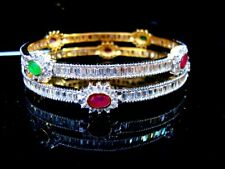 B11, Daphne Zircon Studded Pink and Green Stone Bangle for women