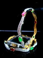 B12, Daphne Curvy Zircon Studded Pink and Green Stone Bangle for women