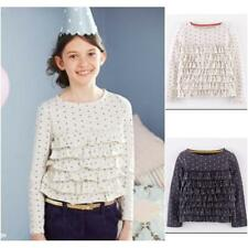 New ex Mini Boden Oat or Soot Star Ruffle Front Long Sleeved Top T-Shirt18m-12y