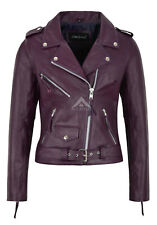 CLASSIC BRANDO Ladies Purple Biker Style Motorcycle Cruiser Hide Leather Jacket