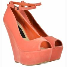 Womens Coral Pink Suede Wedge Peep Toe Platform Shoes Ankle Strap Coral Suede