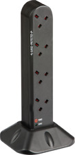 Socket tower surge protected with 8 10 or 12 way socket outlets 2M extension UK
