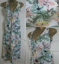 NEW DOROTHY PERKINS MAXI LONG DRESS SUMMER BEACH FLORAL IVORY PINK SIZE 8-22