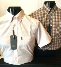 Ben Sherman Short Sleeve Check Shirt with Pocket Pink Polycotton S M L XL XXL