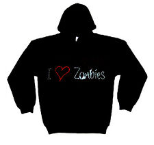 I LOVE ZOMBIES gothique STRASS PULL CAPUCHE (toutes les tailles)