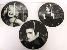 ICON COLLECTION GLASS CLOCKS ELVIS MARILYN AUDREY STYLE LESSER AND PAVEY