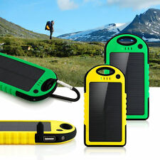 5000mAh Dual-USB Waterproof Solar Power Bank Battery Charger for Cell Phone New