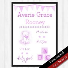 Baby Girl Personalised Printed Gift. Newborn Baby / Birth Nursery Keepsake