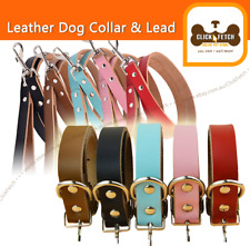 Genuine Cow Real Leather Dog Collar - Matching Leash available Pet Puppy Leads