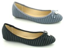 LADIES SPOT ON SLIP ON DOLLY BOW BALLERINA STRIPED SHOES BLACK & GREY F80009