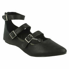 SPOT ON LADIES POINTED TOE FLAT BALLERINA BUCKLE STRAP SMART FORMAL SHOES F80043