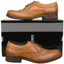 Mens New Lace Up Burnished Tan Softie Leather Brogue Shoes Size 6 7 8 9 10 11 12
